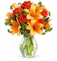 Flower Bouquets: Fiery Lily and Rose Bouquet