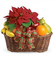 Fruit Gift Baskets: Fruit & Poinsettia Basket