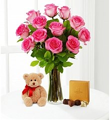Flower Bouquets: Pink Roses with Bear & Godiva®