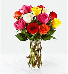 Flower Bouquets: Simply Cheerful Mixed Rose Bouquet