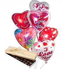 Balloons & Chocolate: Romantic Balloons & Chocolate-6 Mylar